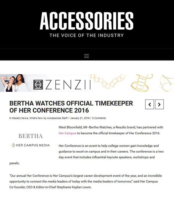 Accessories Magazine - Bertha watches official timekeeper of her conference 2016