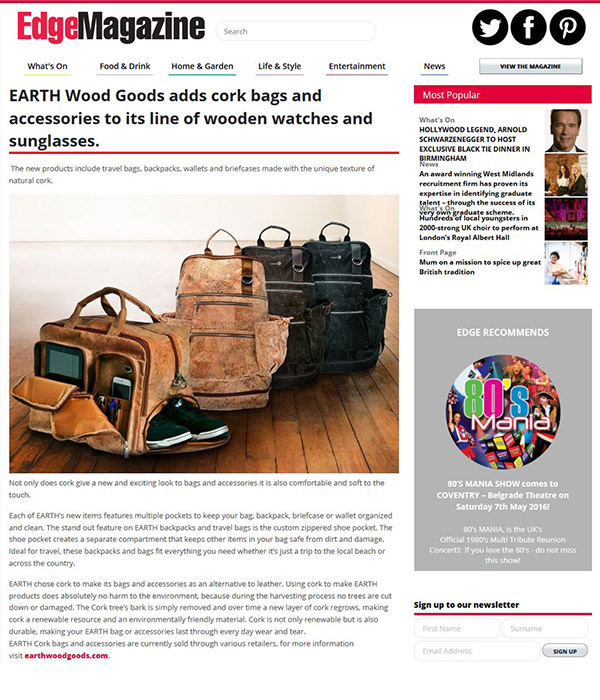 Edge Magazine - Earth wood goods adds cork bags and accessories to its line of wooden watches and sunglasses