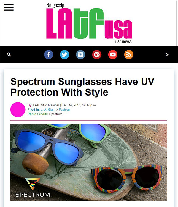 LATF USA - Spectrum Sunglasses Have UV Protection With Style