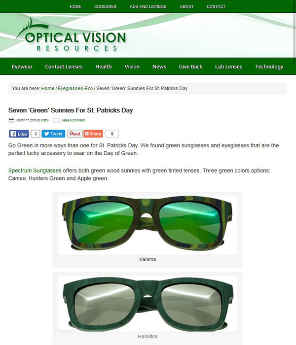 Optical Vision Resources - Seven 'Green' Sunnies For St. Patricks Day
