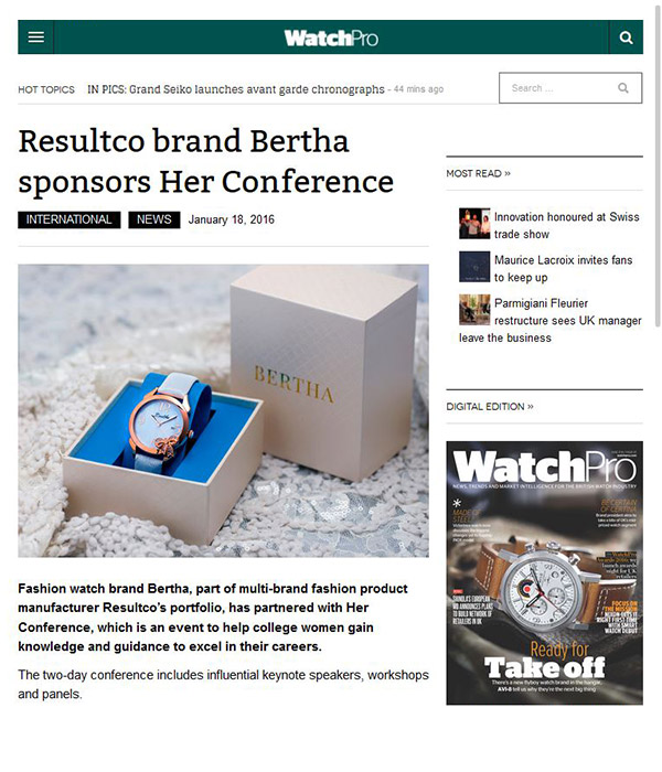 WatchPro - Resultco brand Bertha sponsors Her Conference