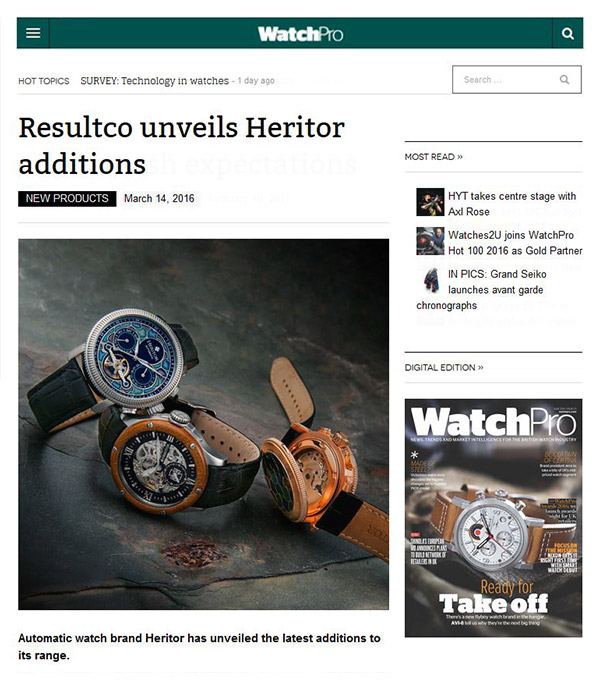 WatchPro - Resultco unveils Heritor additions