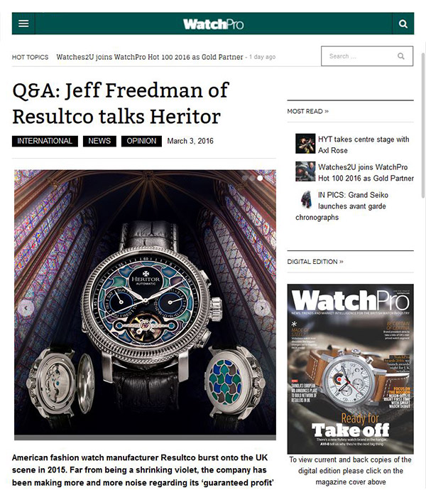 WatchPro - Q&A: Jeff Freedman of Resultco talks Heritor