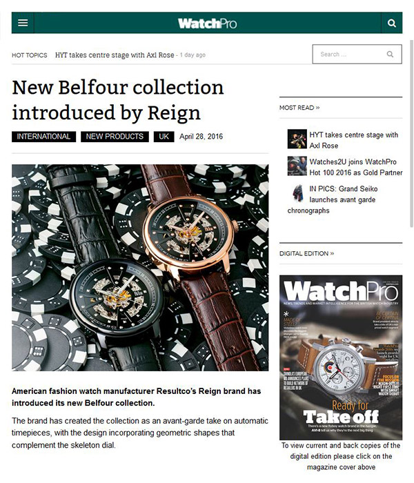 WatchPro - New Belfour collection introduced by Reign