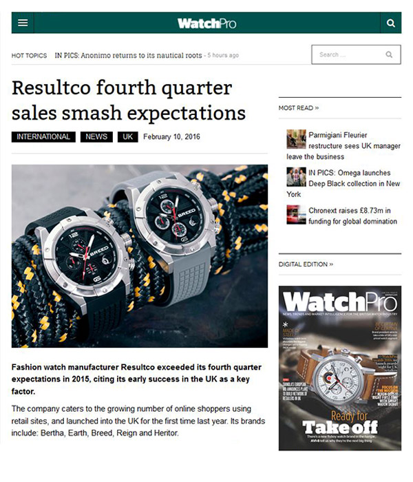 WatchPro - ResultCo Fourth Quarter Sales Smash Expectations